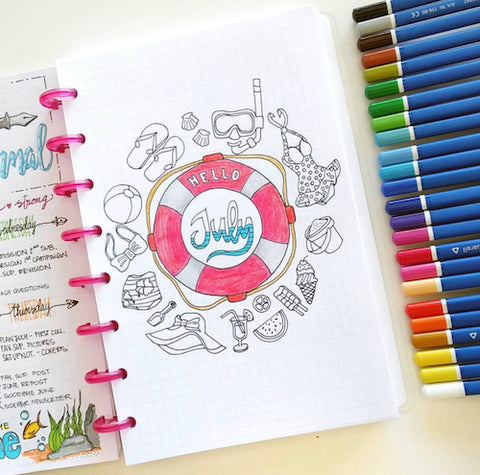 July Bullet Journal Cover Page- Get your bullet journal ready for summer with these gorgeous summer bujo ideas! You have to see these inspiring summery trackers, layouts, covers, and more! | #bulletJournal #bujo #bujoIdeas #bujoInspiration #DigitalDownloadShop