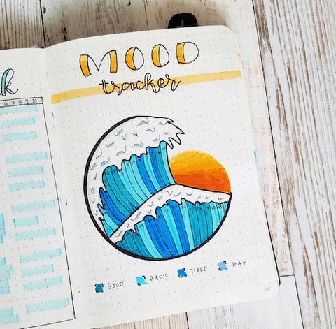 Bullet Journal Wave Mood Tracker- Get your bullet journal ready for summer with these gorgeous summer bujo ideas! You have to see these inspiring summery trackers, layouts, covers, and more! | #bulletJournal #bujo #bujoIdeas #bujoInspiration #DigitalDownloadShop