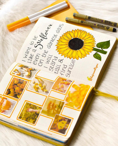 Sunflower Bullet Journal Layout- Get your bullet journal ready for summer with these gorgeous summer bujo ideas! You have to see these inspiring summery trackers, layouts, covers, and more! | #bulletJournal #bujo #bujoIdeas #bujoInspiration #DigitalDownloadShop