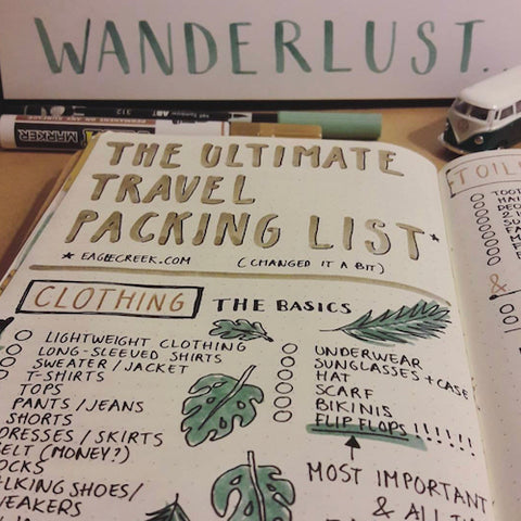 Bullet Journal Travel Packing List- Get your bullet journal ready for summer with these gorgeous summer bujo ideas! You have to see these inspiring summery trackers, layouts, covers, and more! | #bulletJournal #bujo #bujoIdeas #bujoInspiration #DigitalDownloadShop