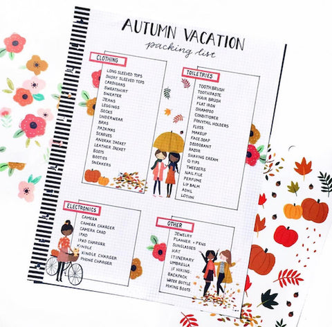Autumn Vacation Packing List- Make your bujo beautiful this fall with inspiration from these 15 fall bullet journals! There are so many beautiful autumn-themed weekly spreads, trackers, and more to try! | autumn bullet journal pages, fall planner ideas, #bulletJournal #bujo #bulletJournalLayout #planner #DigitalDownloadShop