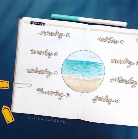 Beach Weekly Bullet Journal Layout- Get your bullet journal ready for summer with these gorgeous summer bujo ideas! You have to see these inspiring summery trackers, layouts, covers, and more! | #bulletJournal #bujo #bujoIdeas #bujoInspiration #DigitalDownloadShop
