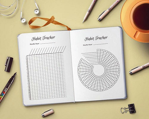 Radial Circle Habit Tracker + Chart Habit Tracker- If you want to start a good habit or end a bad one, you need a habit tracker! These 10 bullet journal habit trackers are easy to use, and so helpful!   bullet journal habit chart ideas, #bulletJournal #bujo #planner #habitTracker #planning #journal #plannerAddict #printable #goals #habits #resolutions