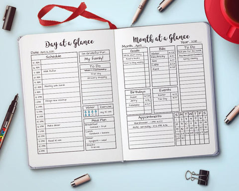 Printable Day + Month at a Glance Planner Combo