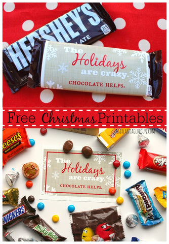 Christmas Chocolate Gift Free Printable- If you're looking for last minute Christmas decor, greeting cards, or gift tags, don't bother with the stores or online shopping. Instead, check out these 25 free Christmas printables! | Christmas wall art printables, printable gift tags, holiday printables, kids activities, #freePrintables #Christmas #DigitalDownloadShop