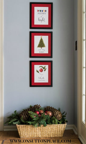 Free Christmas Wall Art Printables Trio- If you're looking for last minute Christmas decor, greeting cards, or gift tags, don't bother with the stores or online shopping. Instead, check out these 25 free Christmas printables! | Christmas wall art printables, printable gift tags, holiday printables, kids activities, #freePrintables #Christmas #DigitalDownloadShop