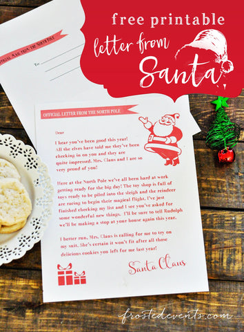 Free Printable Letter from Santa- If you're looking for last minute Christmas decor, greeting cards, or gift tags, don't bother with the stores or online shopping. Instead, check out these 25 free Christmas printables! | Christmas wall art printables, printable gift tags, holiday printables, kids activities, #freePrintables #Christmas #DigitalDownloadShop