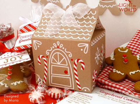 Printable Gingerbread House- If you're looking for last minute Christmas decor, greeting cards, or gift tags, don't bother with the stores or online shopping. Instead, check out these 25 free Christmas printables! | Christmas wall art printables, printable gift tags, holiday printables, kids activities, #freePrintables #Christmas #DigitalDownloadShop