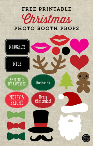Free Printable Christmas Photo Booth Props- If you're looking for last minute Christmas decor, greeting cards, or gift tags, don't bother with the stores or online shopping. Instead, check out these 25 free Christmas printables! | Christmas wall art printables, printable gift tags, holiday printables, kids activities, #freePrintables #Christmas #DigitalDownloadShop