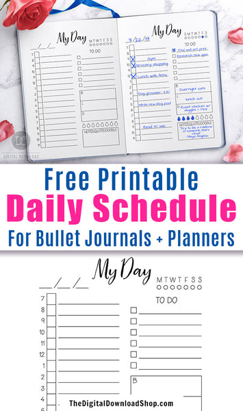 Free Printable Bullet Journal Daily Schedule- If you want to organize your day and achieve your goals with ease, you need this free printable day at a glance page in your bujo or planner! | daily log, bullet journal page ideas, daily agenda, #freePrintable #bulletjournal #planner #DigitalDownloadShop