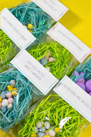 Free Printable Punny Easter Treat Bag Toppers- Make your Easter favors and candy gifts look egg-stra cute this year with some of these adorable free printable Easter treat bag toppers! | Easter party favors, Easter printable, #freePrintables #printable #Easter #treatBags #DigitalDownloadShop