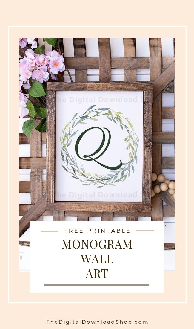 Free Printable Monogram Wall Art- Add a personal touch to your home's decor with this monogram wall art free printable with watercolor greenery! This would look gorgeous in any room of your home! | #freePrintable #freePrintables #wallArt #monogramWallArt #DigitalDownloadShop