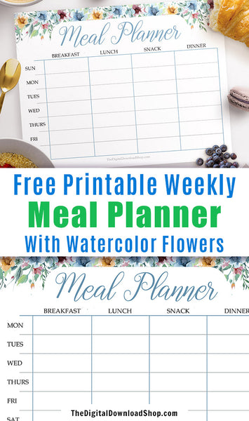 Free Printable Weekly Meal Planner- Use this free printable menu plan to plan out your meals for the week and stop the stress of last minute dinner decisions! | meal planning, menu planning, meal plan template with watercolor florals, watercolor flowers, #mealPlan #freePrintable #DigitalDownloadShop