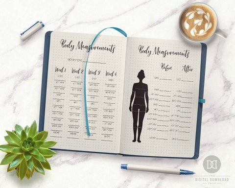 Bullet Journal Body Measurements Page for Weight Loss- If you want to lose weight or just get healthy, your bullet journal can help! | lose weight, planner printables, bullet journal page ideas, bullet journal spread inspiration, #bulletJournal #fitness #DigitalDownloadShop