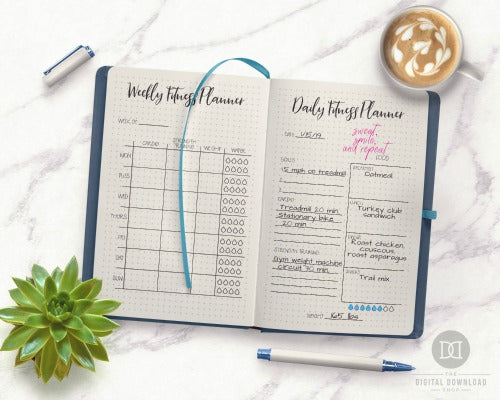 Bullet Journal Weight Loss Page Ideas- If you want to lose weight or just get healthy, your bullet journal can help! | lose weight, planner printables, bullet journal page ideas, bullet journal spread inspiration, #bulletJournal #fitness #DigitalDownloadShop