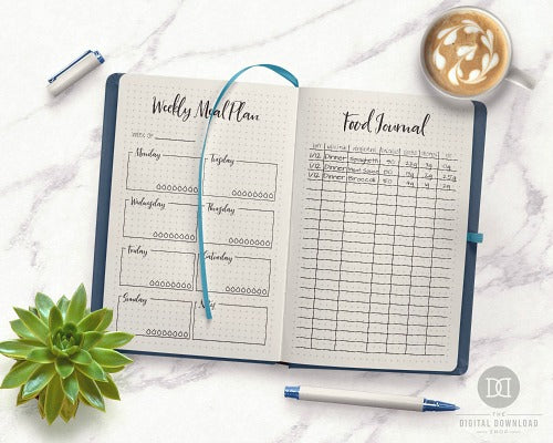 15 Bullet Journal Pages for Your Weight Loss Journey- If you want to lose weight or just get healthy, your bullet journal can help! | lose weight, planner printables, bullet journal page ideas, bullet journal spread inspiration, #bulletJournal #fitness #DigitalDownloadShop