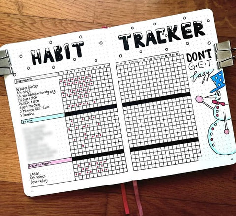 Bullet Journal Habit Tracker Spread- If you want to lose weight or just get healthy, your bullet journal can help! | lose weight, planner printables, bullet journal page ideas, bullet journal spread inspiration, #bulletJournal #fitness #DigitalDownloadShop