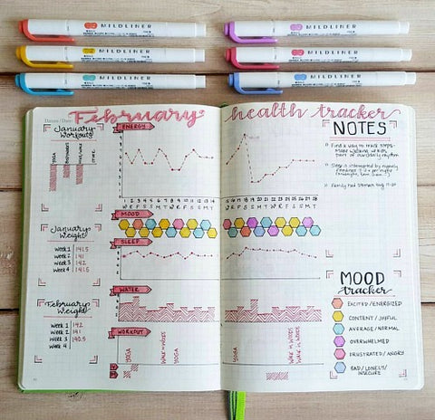 Bullet Journal Monthly Health Tracker- If you want to lose weight or just get healthy, your bullet journal can help! | lose weight, planner printables, bullet journal page ideas, bullet journal spread inspiration, #bulletJournal #fitness #DigitalDownloadShop