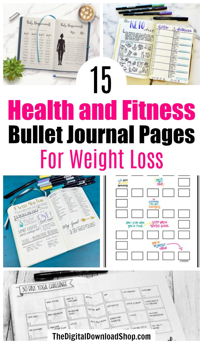 15 Health and Fitness Bullet Journal Pages for Weight Loss- If you want to lose weight or just get healthy, your bullet journal can help! | lose weight, planner printables, bullet journal page ideas, bullet journal spread inspiration, #bulletJournal #fitness #DigitalDownloadShop