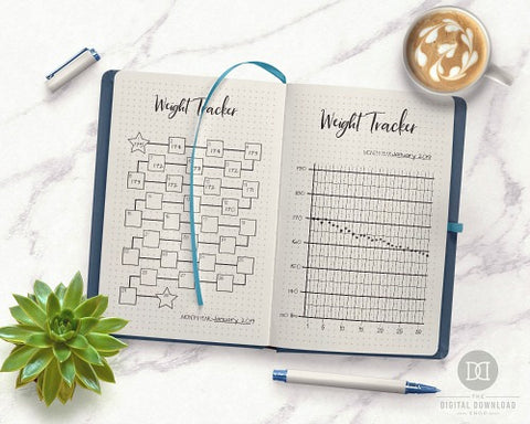Bullet Journal Weight Tracker Printables- If you want to lose weight or just get healthy, your bullet journal can help! | lose weight, planner printables, bullet journal page ideas, bullet journal spread inspiration, #bulletJournal #fitness #DigitalDownloadShop