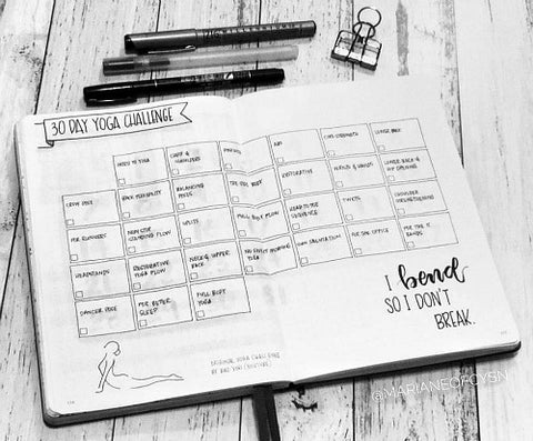Bullet Journal Yoga Challenge Layout- If you want to lose weight or just get healthy, your bullet journal can help! | lose weight, planner printables, bullet journal page ideas, bullet journal spread inspiration, #bulletJournal #fitness #DigitalDownloadShop