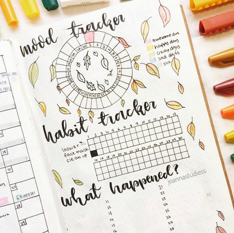 Fall Bujo Page Idea- Make your bujo beautiful this fall with inspiration from these 15 fall bullet journals! There are so many beautiful autumn-themed weekly spreads, trackers, and more to try! | autumn bullet journal pages, fall planner ideas, #bulletJournal #bujo #bulletJournalLayout #planner #DigitalDownloadShop