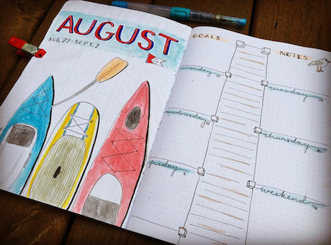 Canoe Summer Bullet Journal Layout- Get your bullet journal ready for summer with these gorgeous summer bujo ideas! You have to see these inspiring summery trackers, layouts, covers, and more! | #bulletJournal #bujo #bujoIdeas #bujoInspiration #DigitalDownloadShop
