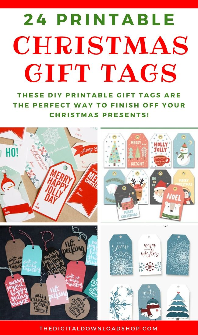 24 Printable Christmas Gift Tags- If you want the perfect finishing touch for your holiday gift wrapping, you need to check out these printable Christmas tags! There are so many pretty DIY holiday tags to choose from! | #freePrintables #freePrintable #Christmas #giftTags #DigitalDownloadShop
