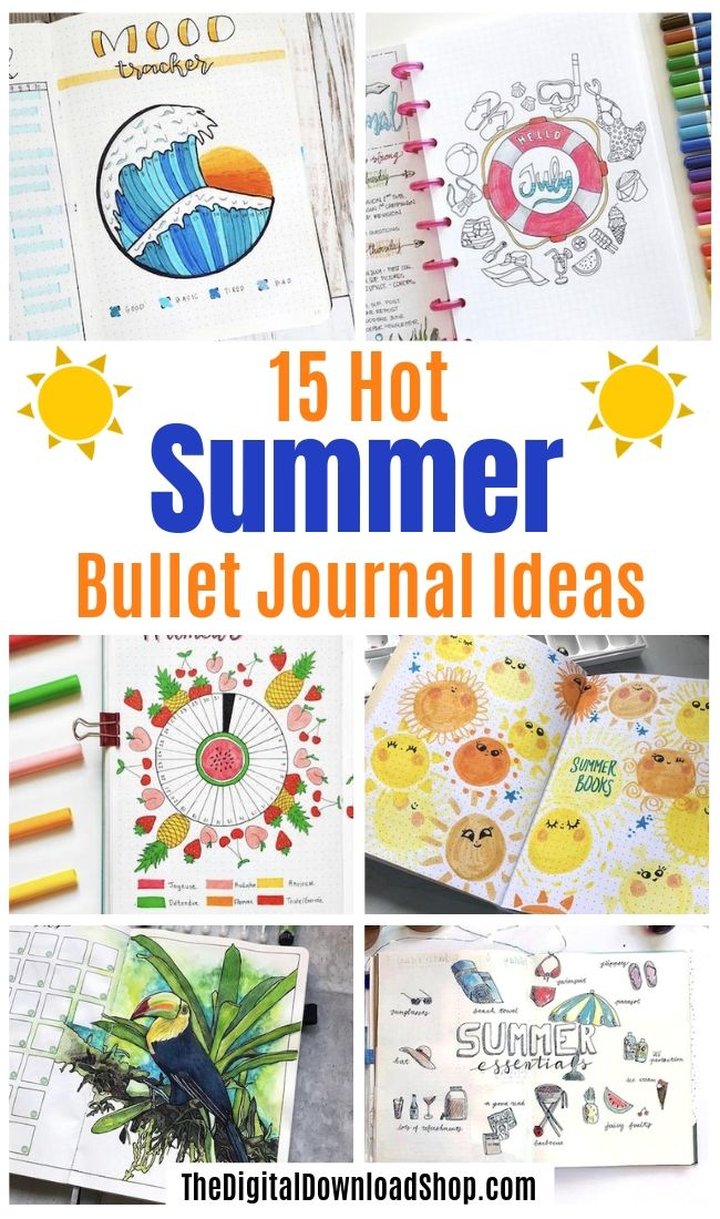 15 HOT Summer Bullet Journal Layouts- Get your bullet journal ready for summer with these gorgeous summer bujo ideas! You have to see these inspiring summery trackers, layouts, covers, and more! | #bulletJournal #bujo #bujoIdeas #bujoInspiration #DigitalDownloadShop