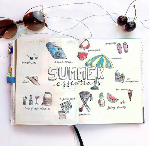 Summer Bullet Journal List- Get your bullet journal ready for summer with these gorgeous summer bujo ideas! You have to see these inspiring summery trackers, layouts, covers, and more! | #bulletJournal #bujo #bujoIdeas #bujoInspiration #DigitalDownloadShop