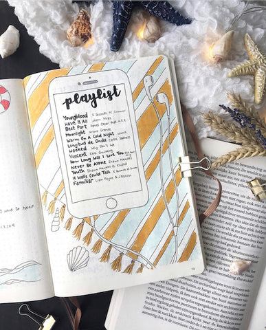 Summer Playlist Bullet Journal Page- Get your bullet journal ready for summer with these gorgeous summer bujo ideas! You have to see these inspiring summery trackers, layouts, covers, and more! | #bulletJournal #bujo #bujoIdeas #bujoInspiration #DigitalDownloadShop
