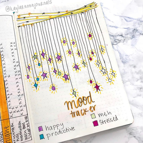 Summer Stars Bullet Journal Mood Tracker- Get your bullet journal ready for summer with these gorgeous summer bujo ideas! You have to see these inspiring summery trackers, layouts, covers, and more! | #bulletJournal #bujo #bujoIdeas #bujoInspiration #DigitalDownloadShop