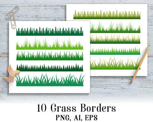 10 Grass Borders Clipart - The Digital Download Shop