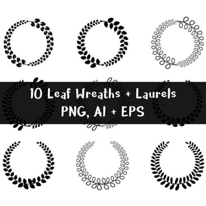 10 Leaf Wreaths and Laurels Clipart - The Digital Download Shop