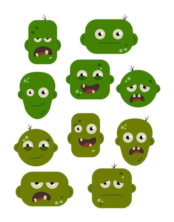 10 Zombie Heads Clipart - The Digital Download Shop