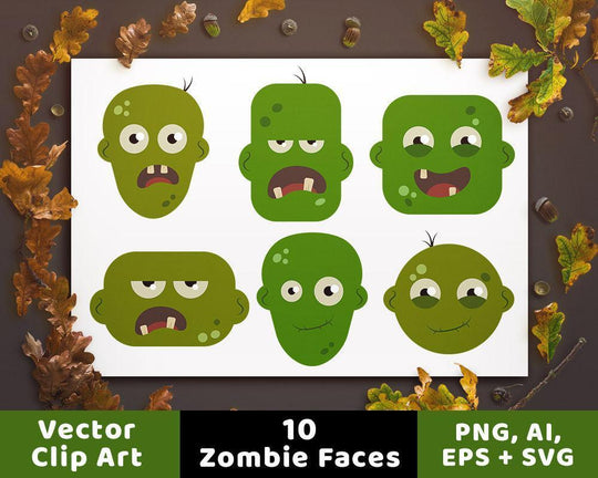 10 Zombie Heads Clipart