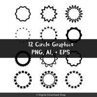 12 Black Circles Clipart - The Digital Download Shop