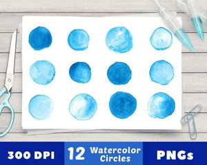 12 Blue Watercolor Circles Clipart - The Digital Download Shop