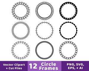 12 Circle Frames Clipart - The Digital Download Shop