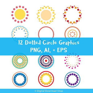 12 Colorful Dotted Circle Graphics - The Digital Download Shop