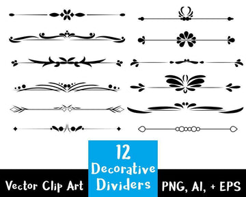 12 Decorative Dividers Clipart