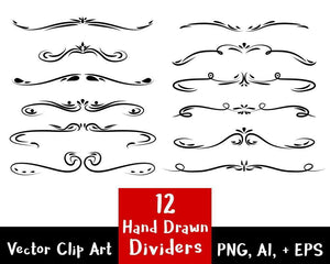 12 Hand Drawn Dividers Clipart - The Digital Download Shop