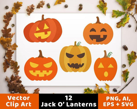 12 Jack O' Lanterns Clipart - The Digital Download Shop