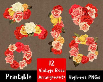 12 Vintage Rose Arrangements Clipart