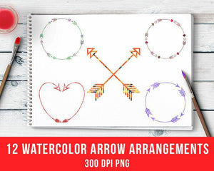 12 Watercolor Arrows Clipart - The Digital Download Shop