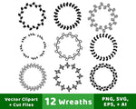 12 Wreaths Clip Art - The Digital Download Shop