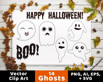 14 Ghosts Halloween Clipart