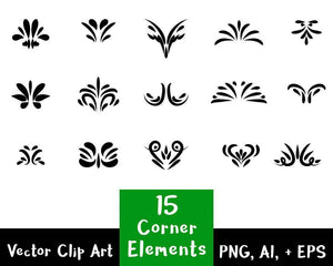 15 Decorative Corners Flourish Clipart - The Digital Download Shop