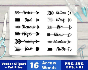 16 Arrow Words Clipart