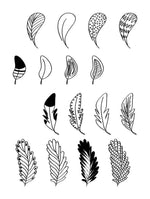 16 Doodle Feathers Clipart - The Digital Download Shop